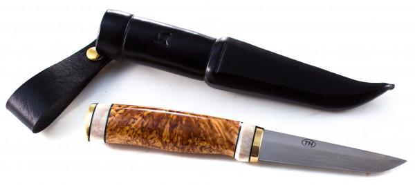 Teemu Häkkilä Messer mit Maserbirke und Rentiergeweih