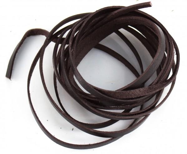 Lederschnur flach ca. 1mm stark, 1,5 Meter, Farbe: dunkelbraun
