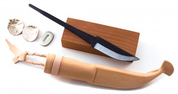 Bausatz für nordisches Messer 77 carbon inkl. Lederscheide