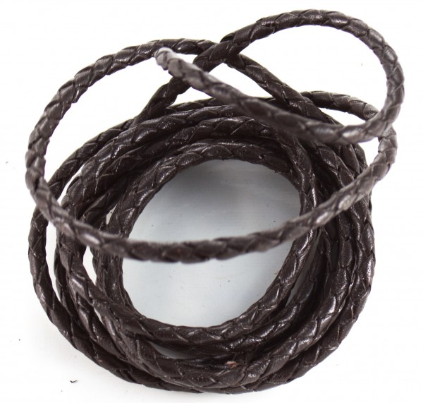 Lederschnur geflochten ca. 3mm stark, 1,5 Meter,Farbe: dunkelbraun