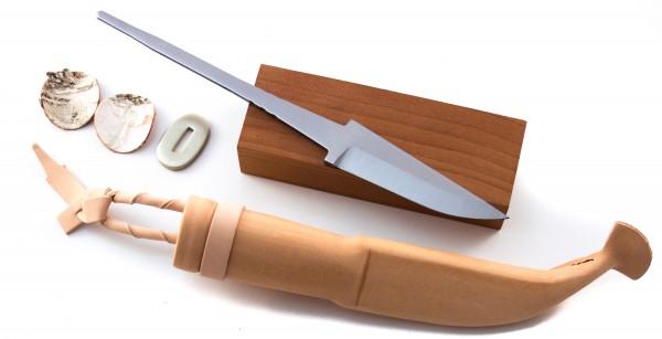 Bausatz für Schnitzmesser rostfrei 80 inkl. Lederscheide