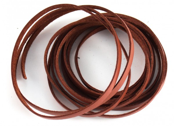 Lederschnur flach ca. 1mm stark, 1,5 Meter, Farbe: hellbraun
