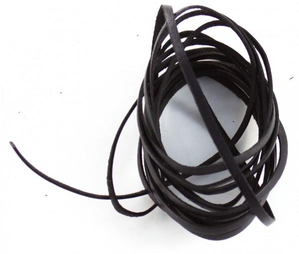 Lederschnur flach ca. 1mm stark, 1,5 Meter, Farbe: schwarz
