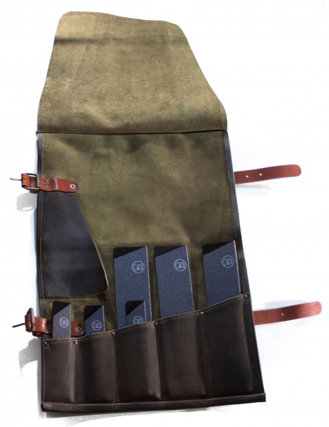 Ledertasche Chefs Knife Roll 5 - Forest Green
