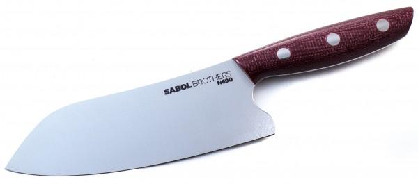 SabolBrothers Kochmesser kleines Santoku, Jute Micarta Bison