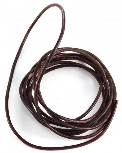 Lederschnur rund ca. 2mm stark , 1,5 Meter, Farbe: braun
