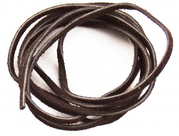 Lederschnur flach ca. 3mm stark,1,5 Meter, Farbe: braun