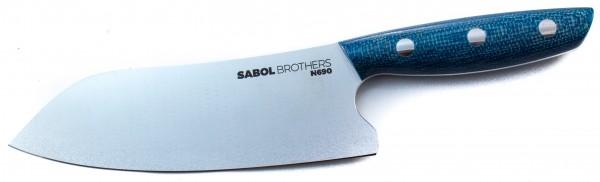 SabolBrothers Kochmesser kleines Santoku, Jute Micarta Aqua