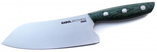 SabolBrothers Kochmesser kleines Santoku, Jute Micarta grün