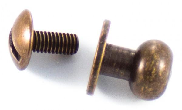 Knopfniete Altmessing, 8mm Kopf, groß (10er Packung)