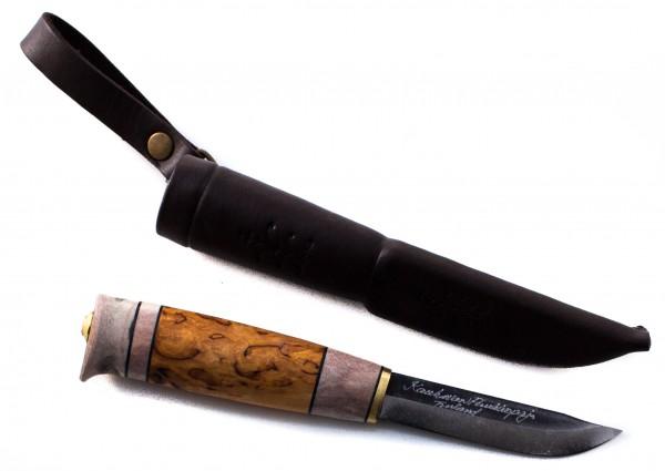 Kauhavan Puukkopaja Messer Visa 85mm, carbon schwarze Klinge
