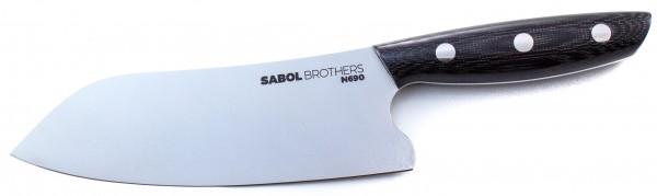 SabolBrothers Kochmesser kleines Santoku, Jute Micarta schwarz
