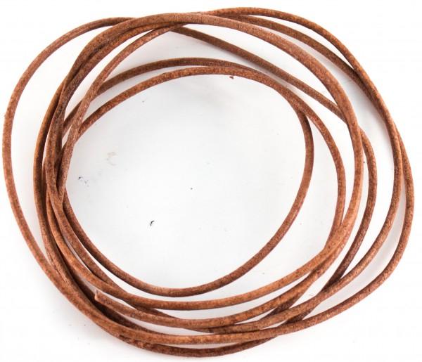 Lederschnur rund ca. 2mm stark , 1,5 Meter, Farbe: natur